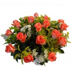 Buque com 18 Rosas Coral