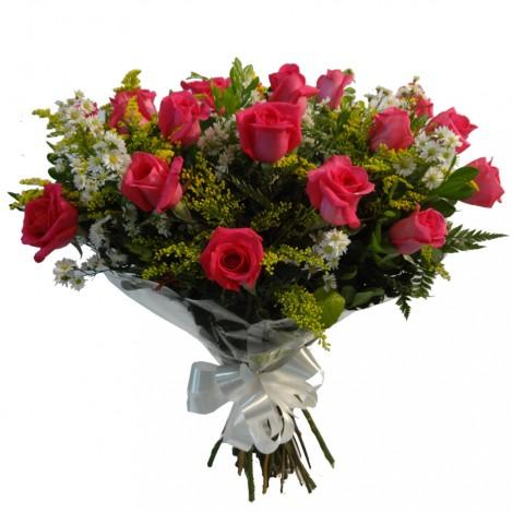 Buque com 12 Rosas Pink