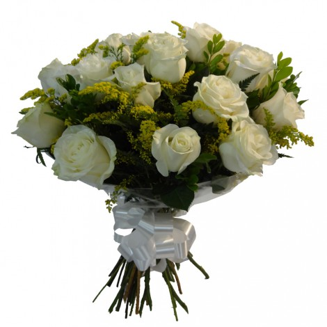 Buque com 18 Rosas Brancas