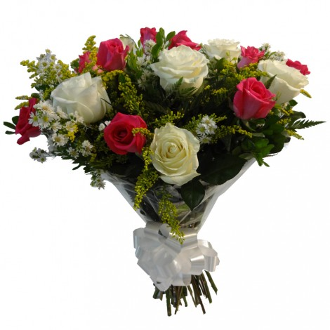 Buquê de Rosas Brancas e Rosa Pink mescladas - 24 Rosas