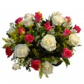 Buquê de Rosas Brancas e Rosa Pink mescladas - 12 Rosas
