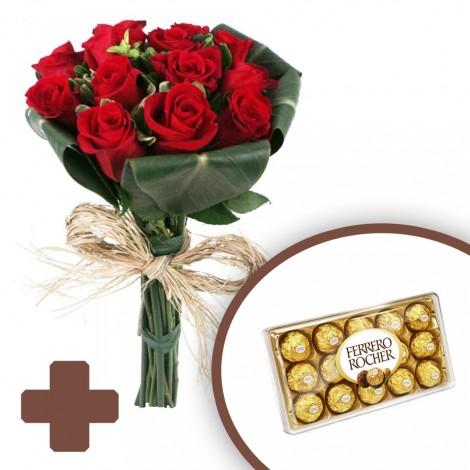 Buquê de Rosas Colombianas Luxo + Ferrero Rocher (12 unidades)